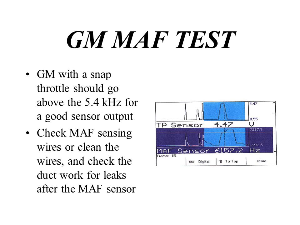 GM MAF TEST GM with a snap throttle should go above the 5.4 kHz for a good sensor output.