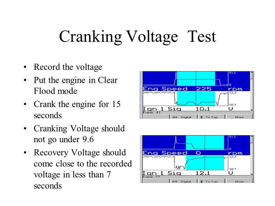 Cranking Voltage Test Record the voltage