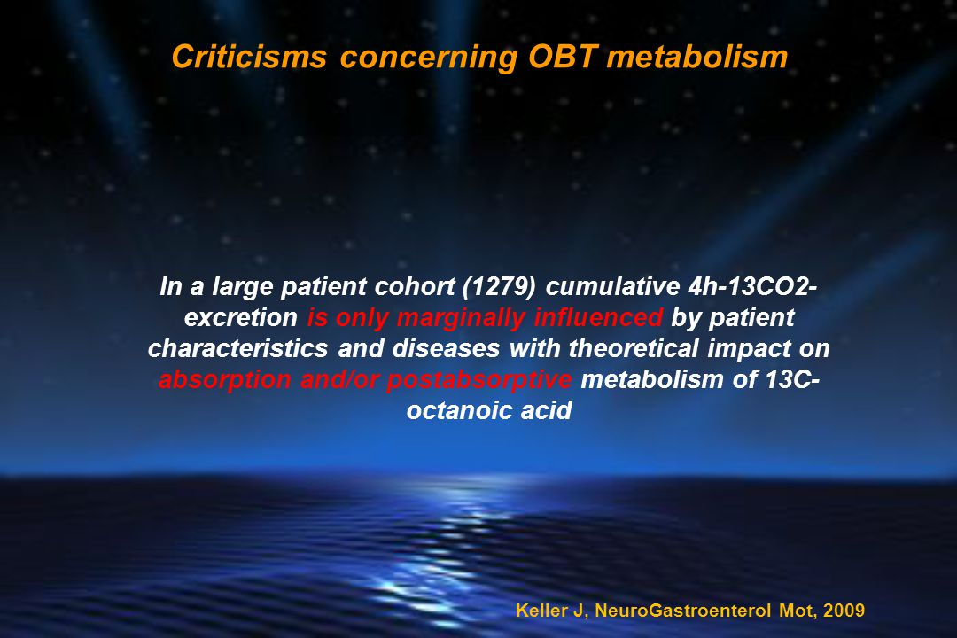 Criticisms concerning OBT metabolism