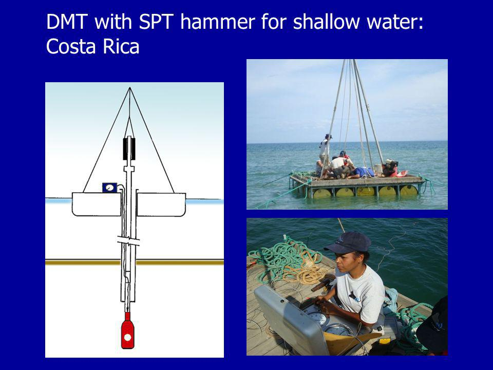 DMT with SPT hammer for shallow water: Costa Rica