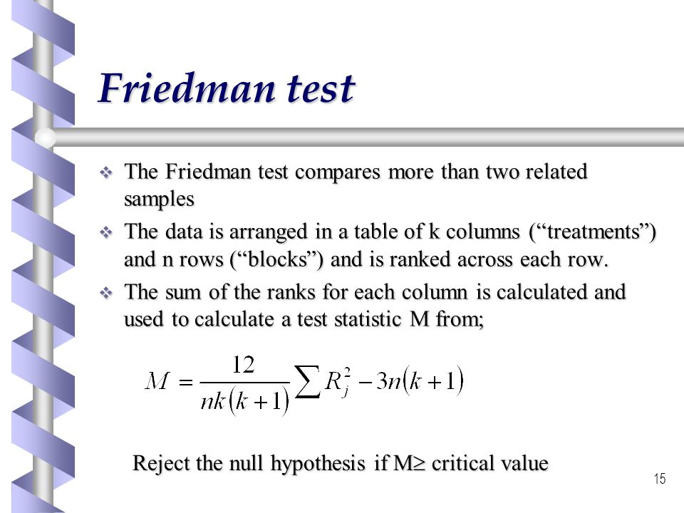 Friedman test The Friedman test compares more than two related samples