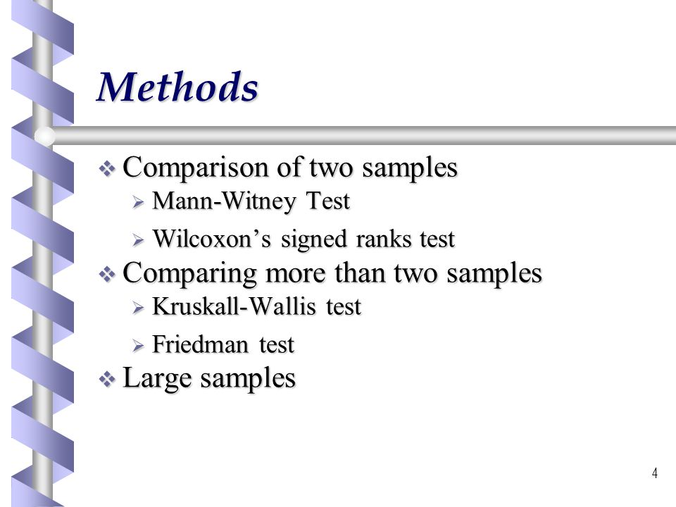 Methods Comparison of two samples Comparing more than two samples
