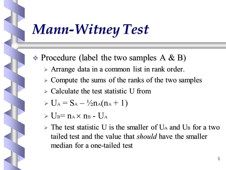 Mann-Witney Test Procedure (label the two samples A & B)