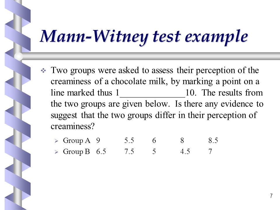 Mann-Witney test example