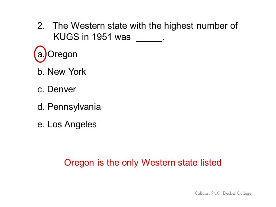 Oregon is the only Western state listed