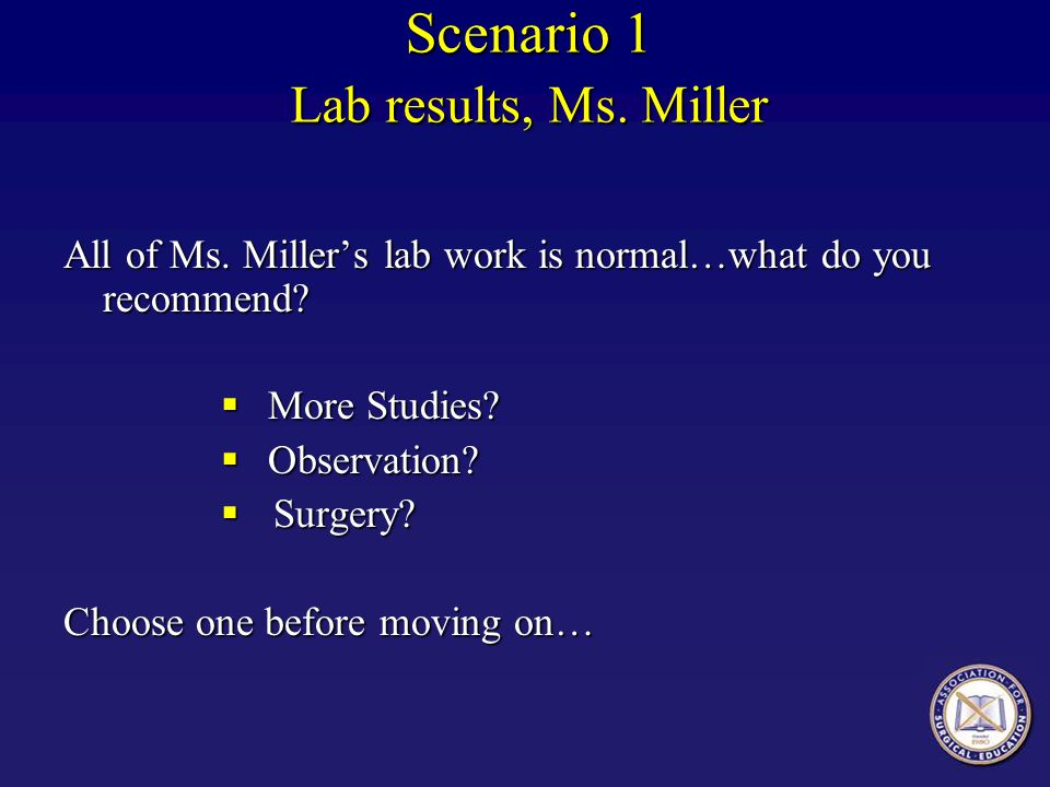 Scenario 1 Lab results, Ms. Miller