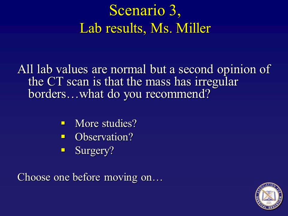 Scenario 3, Lab results, Ms. Miller