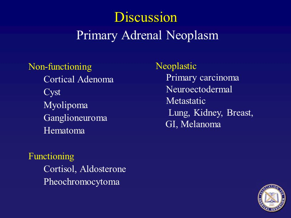 Discussion Primary Adrenal Neoplasm