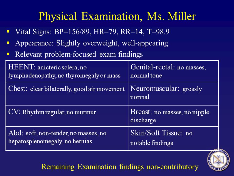 Physical Examination, Ms. Miller