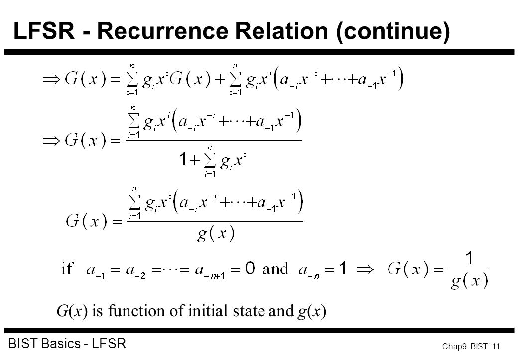 LFSR - Recurrence Relation (continue)