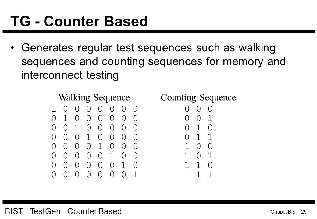 TG - Counter Based Generates regular test sequences such as walking sequences and counting sequences for memory and interconnect testing.