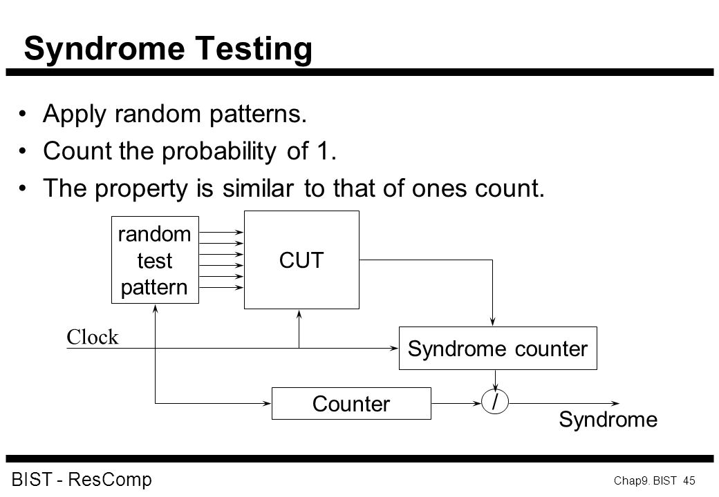 Syndrome Testing Apply random patterns. Count the probability of 1.