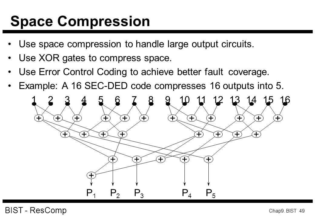 Space Compression Use space compression to handle large output circuits. Use XOR gates to compress space.