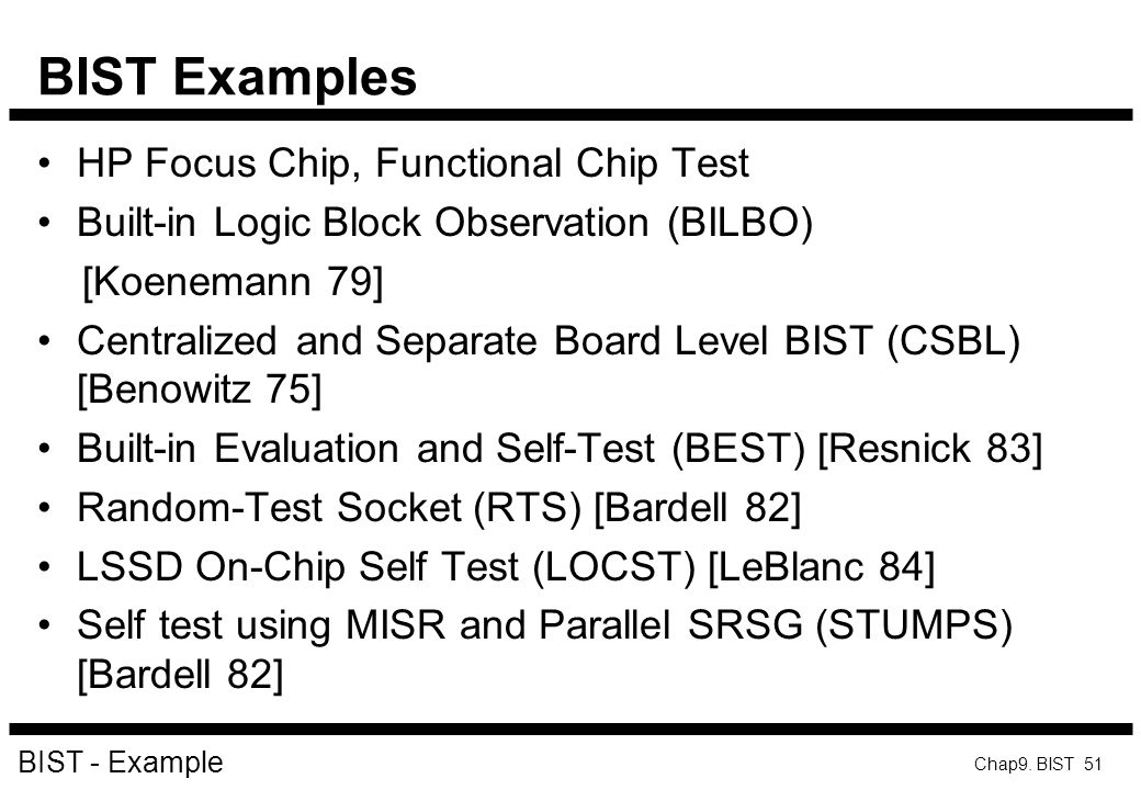BIST Examples HP Focus Chip, Functional Chip Test