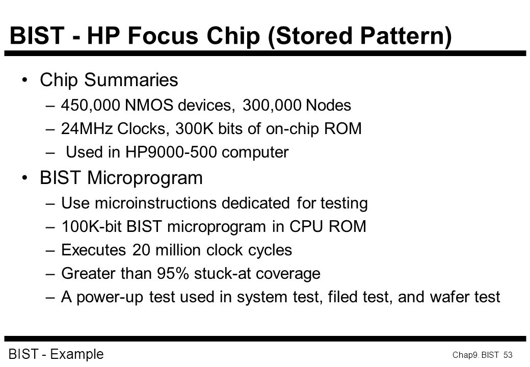 BIST - HP Focus Chip (Stored Pattern)