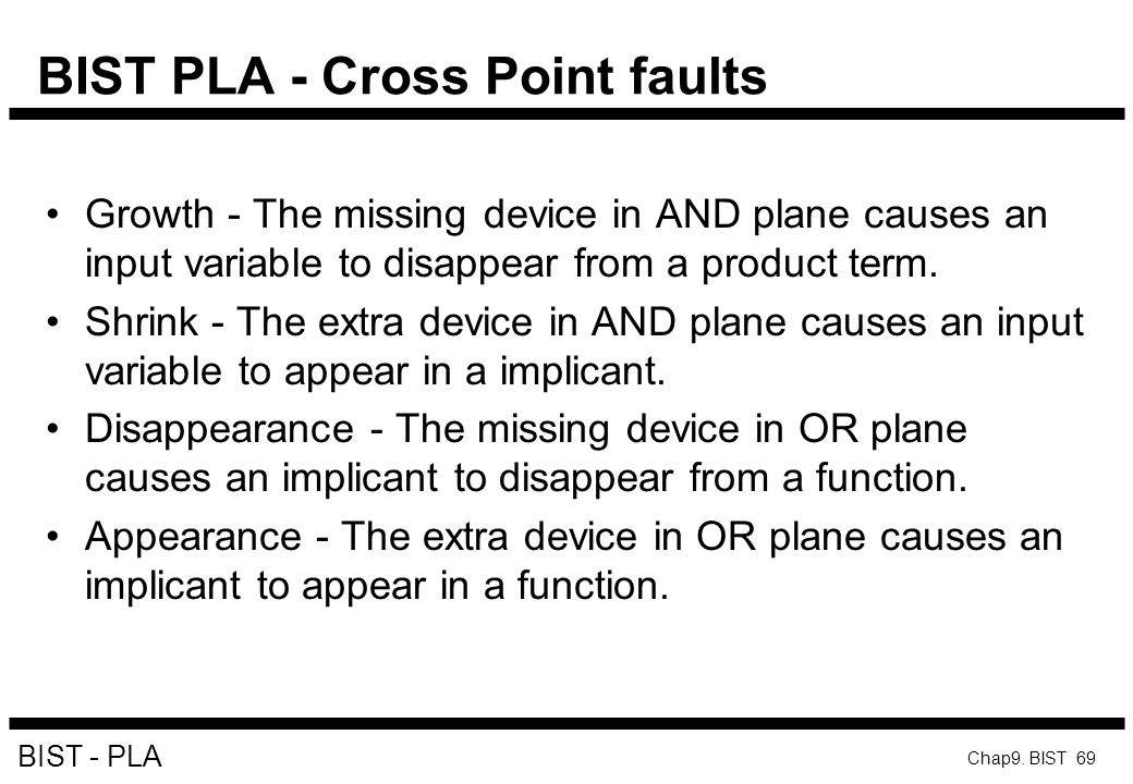 BIST PLA - Cross Point faults