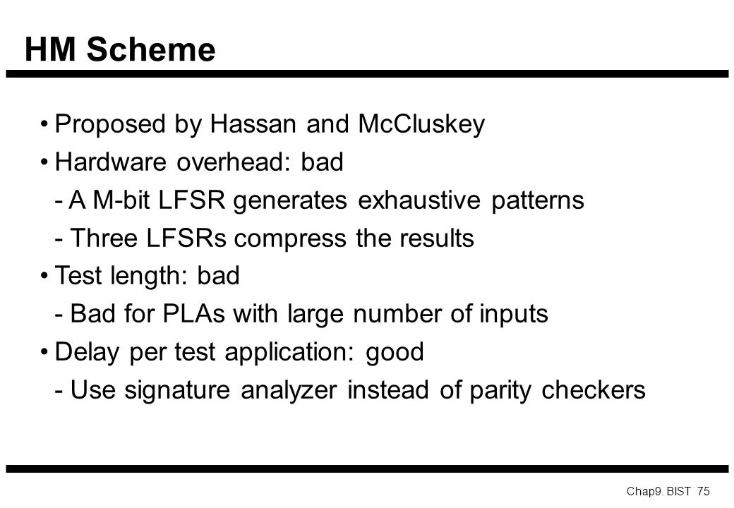 HM Scheme Proposed by Hassan and McCluskey Hardware overhead: bad