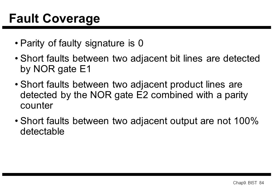 Fault Coverage Parity of faulty signature is 0