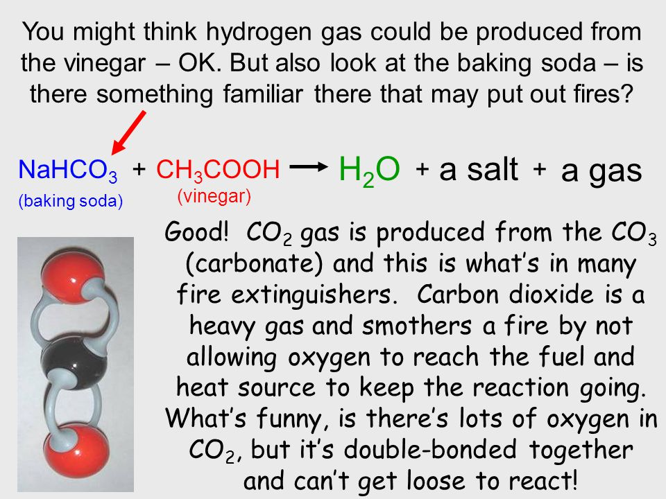 You might think hydrogen gas could be produced from the vinegar – OK