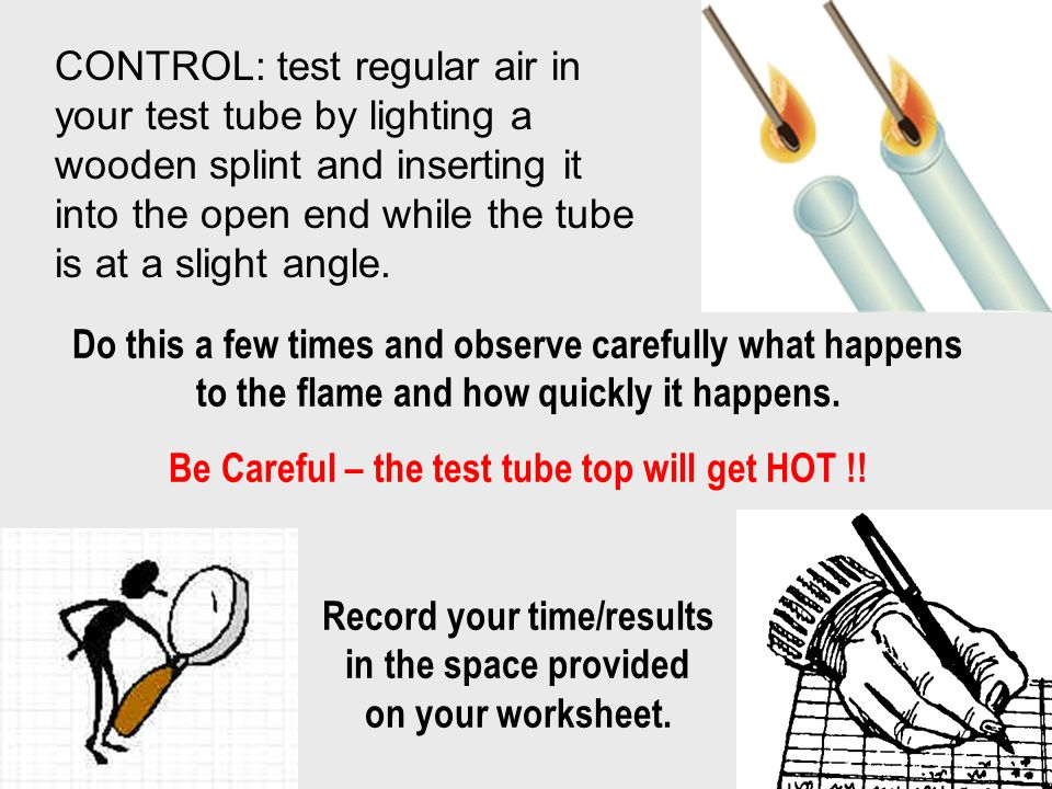 Be Careful – the test tube top will get HOT !!