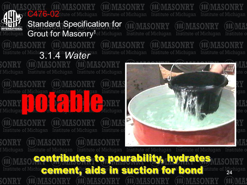 contributes to pourability, hydrates cement, aids in suction for bond