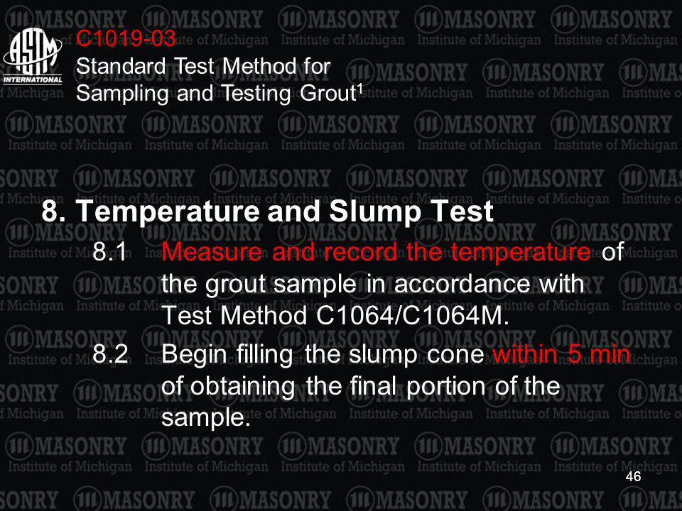 8. Temperature and Slump Test