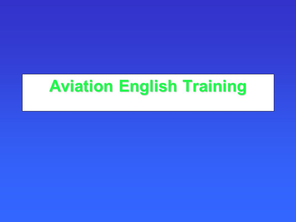 Aviation English Training