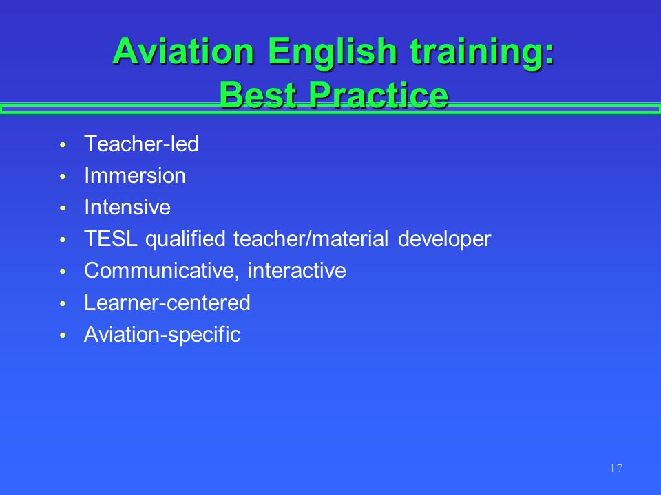 Aviation English training: Best Practice