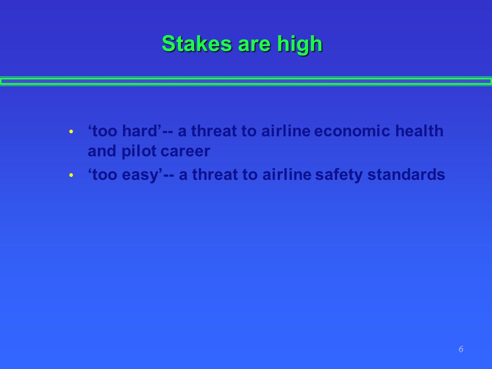 Stakes are high 'too hard'-- a threat to airline economic health and pilot career.