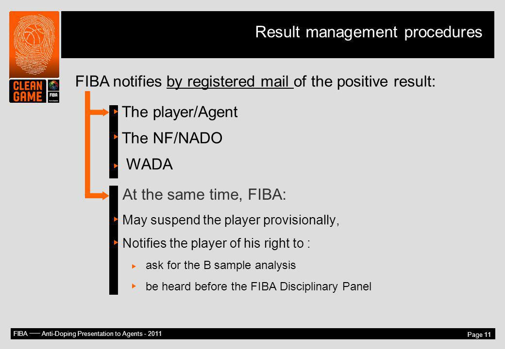 Result management procedures