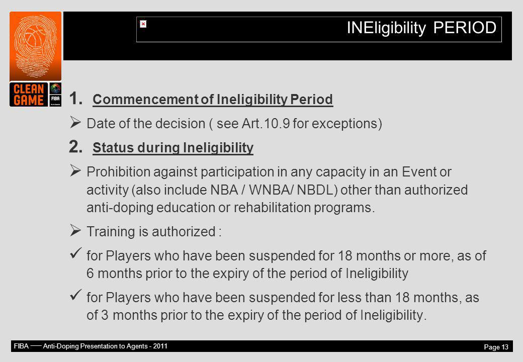 INEligibility PERIOD Commencement of Ineligibility Period