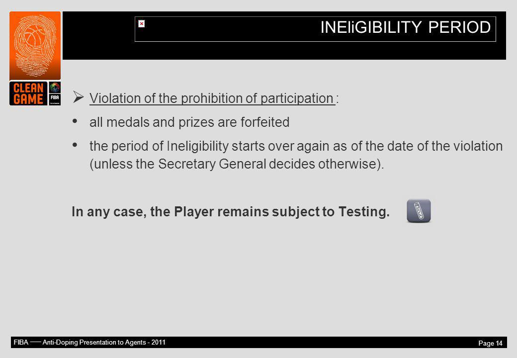 INEliGIBILITY PERIOD Violation of the prohibition of participation :