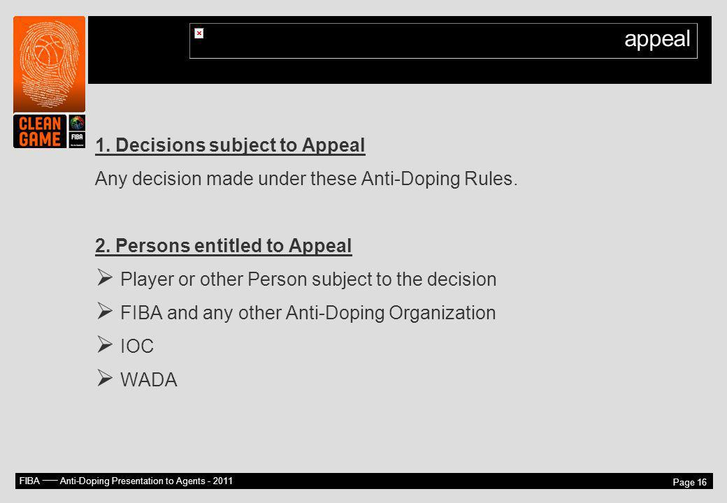 appeal 1. Decisions subject to Appeal