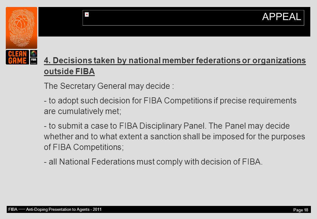 APPEAL 4. Decisions taken by national member federations or organizations outside FIBA. The Secretary General may decide :