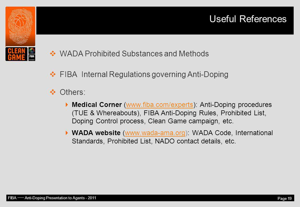 Useful References WADA Prohibited Substances and Methods
