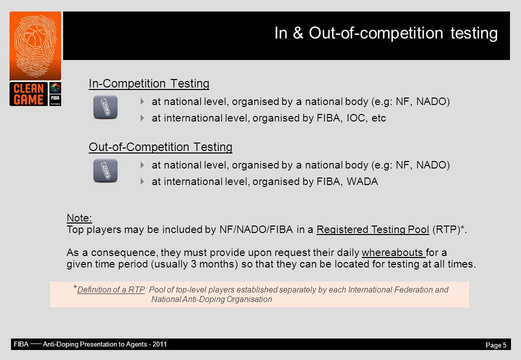 In & Out-of-competition testing