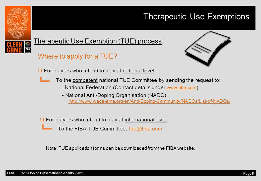 Therapeutic Use Exemptions