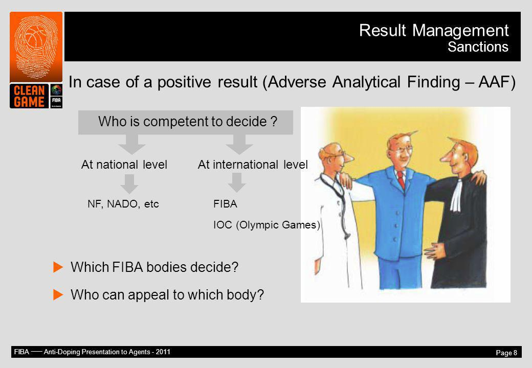 Result Management Sanctions. In case of a positive result (Adverse Analytical Finding – AAF) Who is competent to decide
