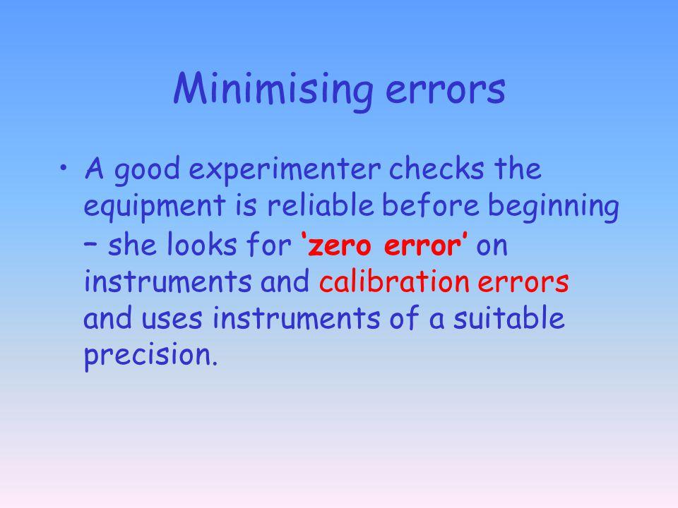 Minimising errors
