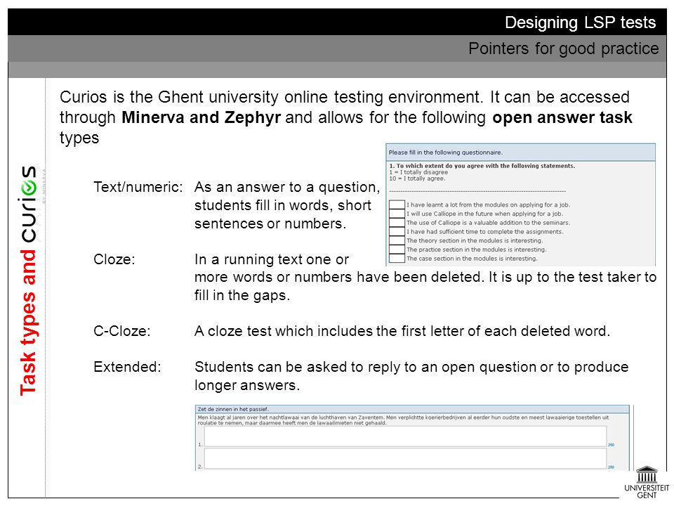 Task types and Curios Designing LSP tests Pointers for good practice
