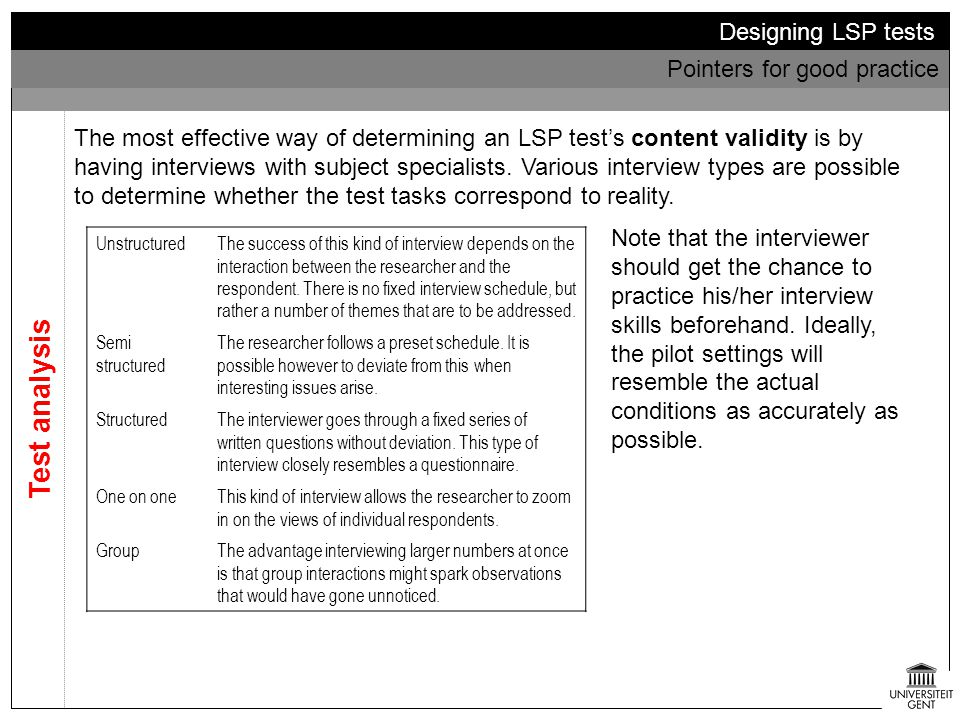 Test analysis Designing LSP tests Pointers for good practice