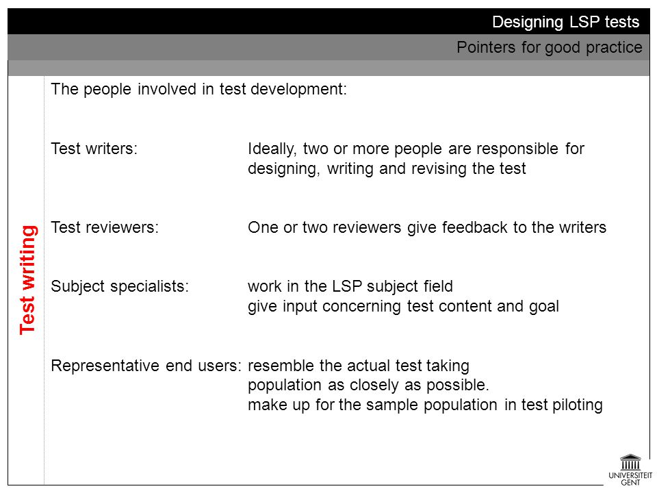 Test writing Designing LSP tests Pointers for good practice