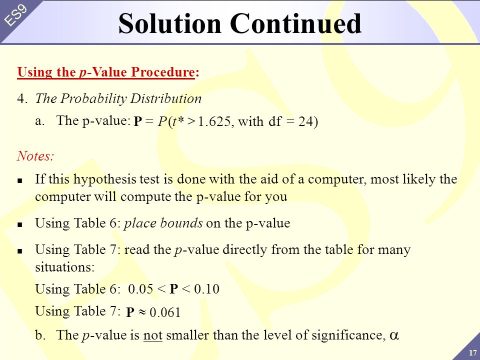 Solution Continued Using the p-Value Procedure: