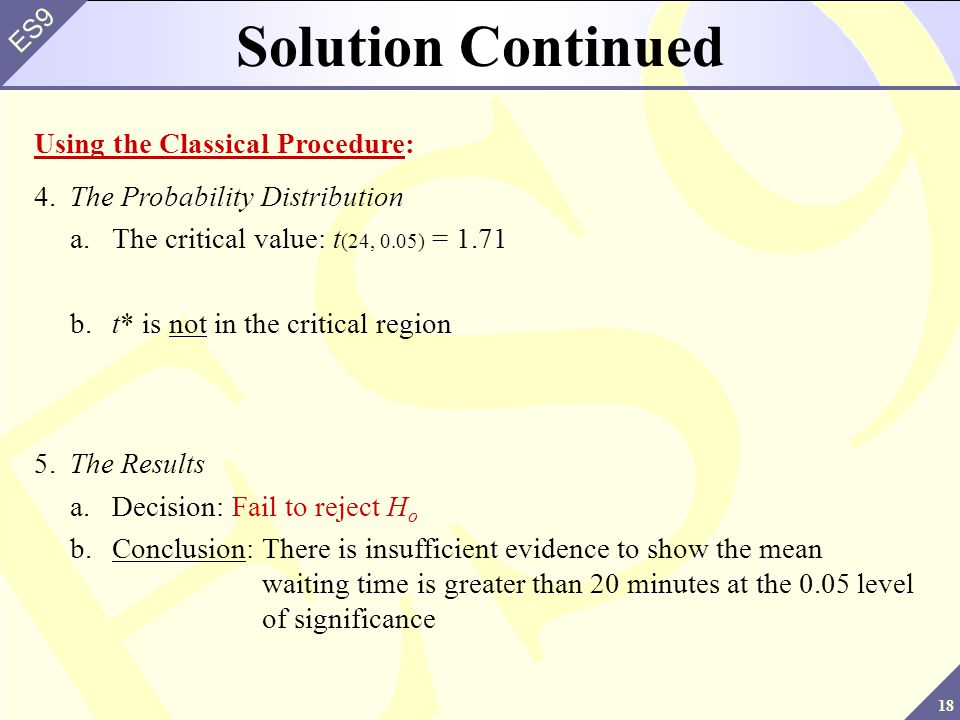 Solution Continued Using the Classical Procedure: