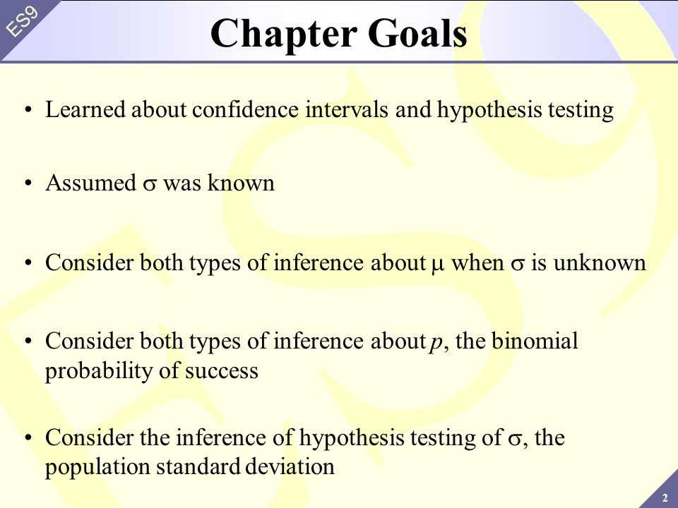Chapter Goals Learned about confidence intervals and hypothesis testing. Assumed s was known.