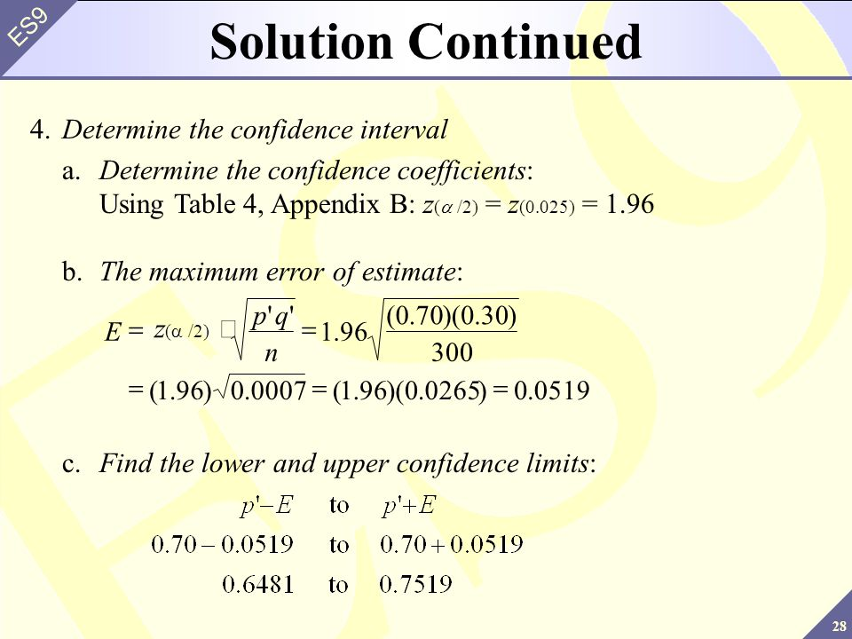 Solution Continued 4. Determine the confidence interval