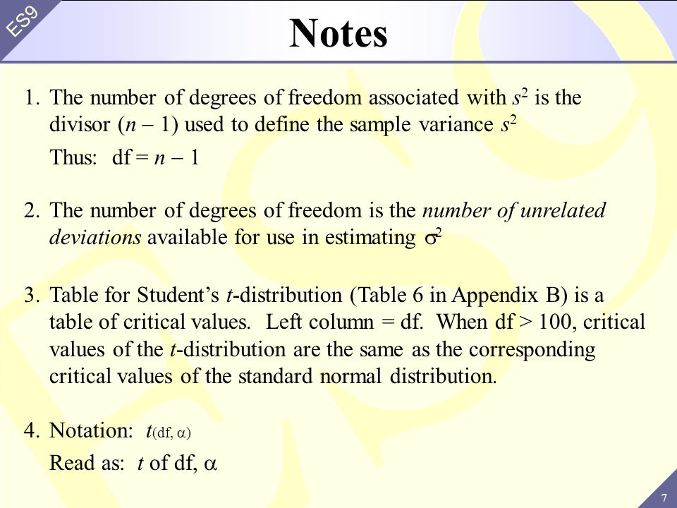Notes 1. The number of degrees of freedom associated with s2 is the divisor (n - 1) used to define the sample variance s2.