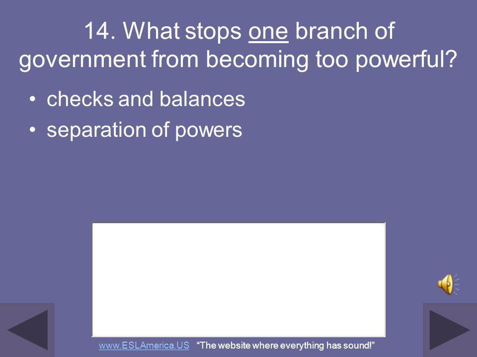 14. What stops one branch of government from becoming too powerful