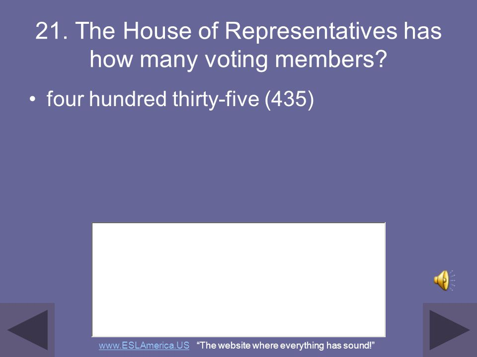 21. The House of Representatives has how many voting members