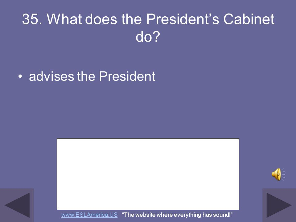 35. What does the President's Cabinet do